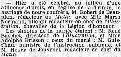 Mariage de Beauplan 8 11 1912