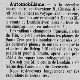 """Extrait de L""""Etoile du sud (15 mars 1908), hebdomadaire publié à Rio de janeiro"""