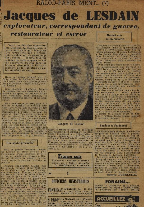 Jacques de Lesain (France Soir 11 décembre 1944)