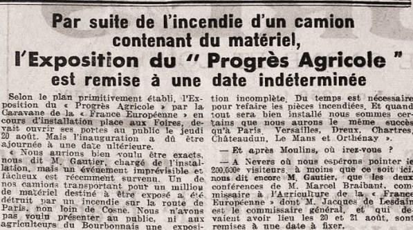 Progrès de l'Allier France européenne Incendie 18 août 1942