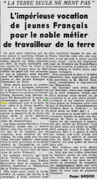 PETIT PARISIEN  10 AVRIL 1941