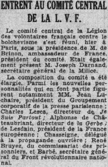 JDL au comité central de la LVF PParisien  24 mars 1943