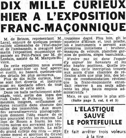 LE MATIIN 13 octobre 1940