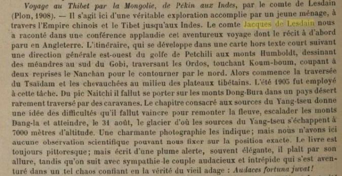 LESDAIN Bull. Société géographie 15 janvier 1909