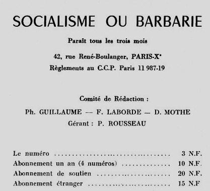 Ours de Socialisme et barbarie