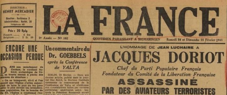 La France 24 février 1945 MORT DORIOT