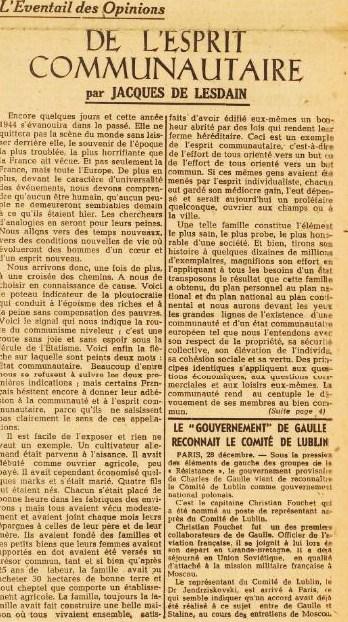 La France 29 décembre 1944 JDL