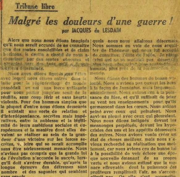 La France 26 octobre 1944 1er édito JDL