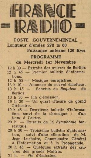 Programme radio 31 octobre 1944
