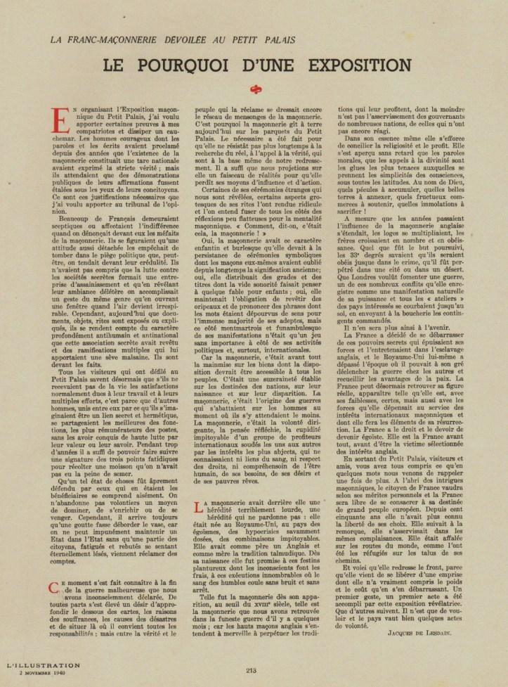 ARTICLE EXPOSITION FRANC MACONNERIE 1940