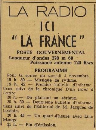 Ici la France JDL 2 novembre 1944