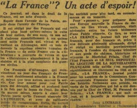 La France n°1 26 octobre 1944 Edito Luchaire