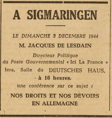 La France er Décembre 1944 conf. de Lesdain