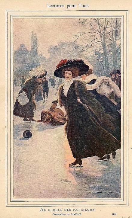 SIMONT Au cercle des patineurs Lecrure pour tous 1909