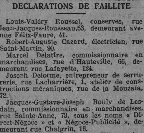 Lesdain Faillite L'Homme libre 5 mars 1923