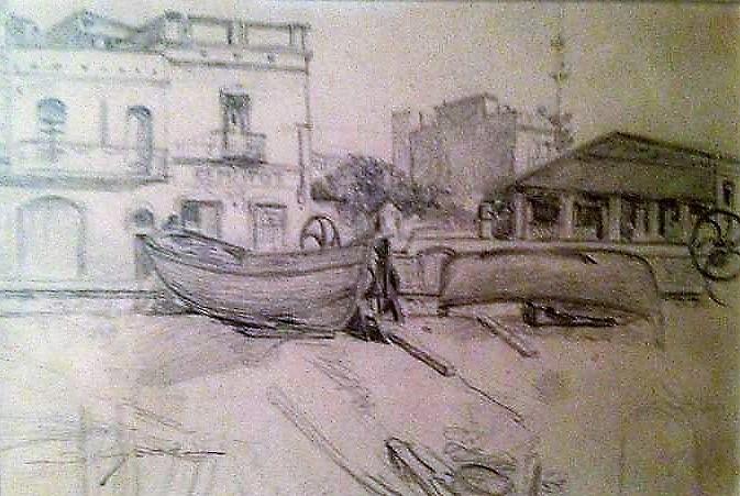 SIMONT DEssin du port de Arenys