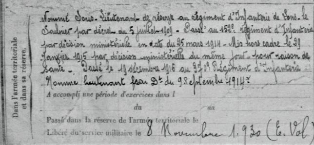 1914-1918 RDB Etatas de services militaires 2 ADPT Versailles - Copie