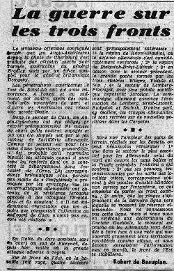 29 juillet 1944 Dernier article RDB Le matin