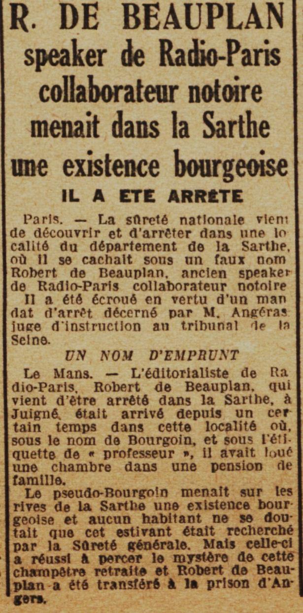 Arrestation de Beauplan 1 Le maine Libre