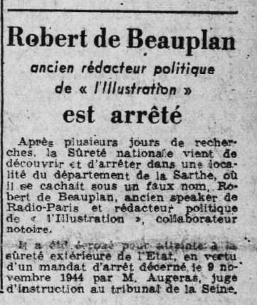 Ce Soir arrestation RDB 1er juillet 1945