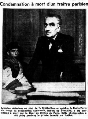 Condamnation à mort R.de BEAUPLAN (Feuille d'avis de Neuchatel 3 DEC 1945