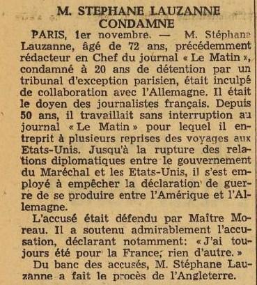 La France novembre 1944 condamnation S. Lauzanne