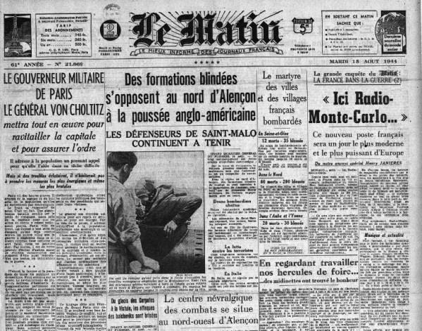 Le Matin 15 août 1944 Dernier article DE BEAUPLAN
