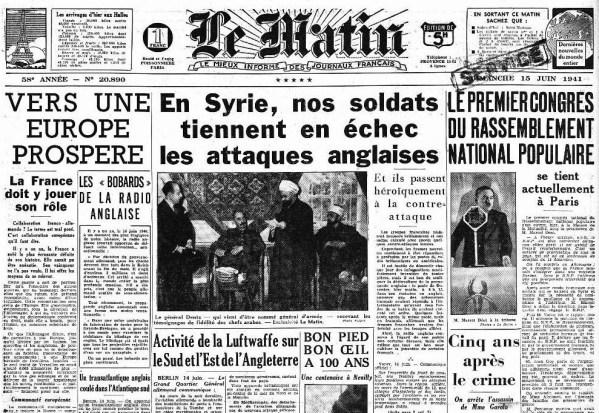 Le Matin 15 juin 1941