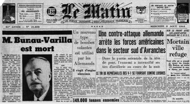 Le matin 2 aout 1944 Mort de Bunau-varilla