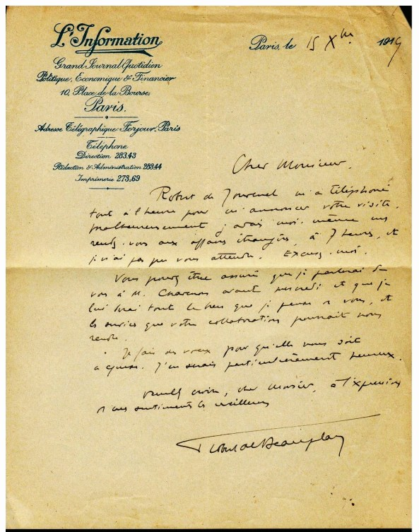 Lette autographe Robert de Beauplan à Henri Béraud 1914 L'Information