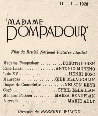 MARSA BEAUPLAN Cinearté 1928 Mme Pompadour